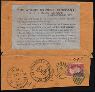 "Civil War ""Across the Lines"" private express mail envelope with special instructional label...."