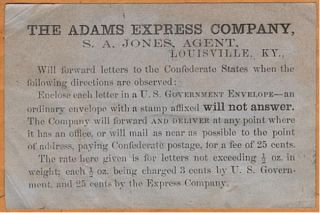 "Civil War ""Across the Lines"" private express mail envelope with special instructional label"