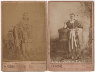 Two cabinet card photographs of Tonhadel (Broken Leg or Lame) Laura Tonadlemah Doanmoe Pedrick, an important female leader of the Kiowa tribe.