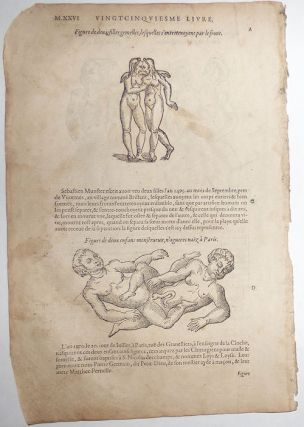 16th-century leaf with four illustrations of conjoined twins from Ambroise Paré's Monsters