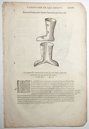 16th-century leaf with the famous illustration of Ambroise Paré's Artificial Hand