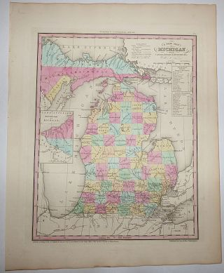A New Map of Michigan with its Canals, Roads & Distances (Map No. 25 from A New Universal Atlas....