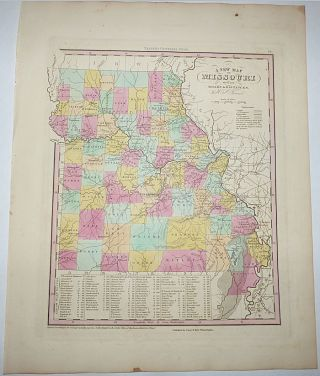A New Map of Missouri with its Roads & Distances (Map No. 28 from A New Universal Atlas. . . .). H. S., Henry Shenk Tanner.