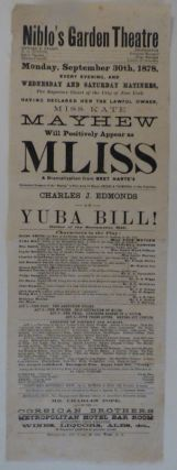 New York Theater Broadside for M'Liss at Niblo's Garden Theatre