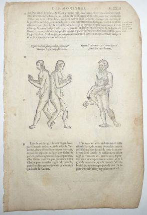 16th-century leaf with four illustrations of conjoined twins and birth defects from Ambroise Paré's Monsters