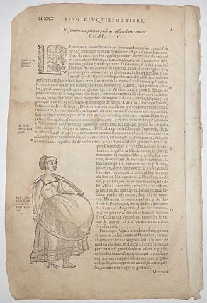 16th century leaf with Paré's famous illustration of a woman pregnant with many children and two other illustrations of malformed births from Ambroise Paré's Monsters