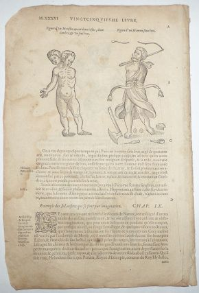 16th-century leaf with four illustrations of malformed people Ambroise Paré's Monsters