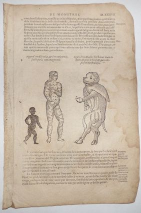 16th-century leaf with four illustrations showing deformities caused by excessive imagination or unpleasant sights from Ambroise Paré's Monsters