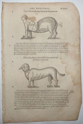 16th-century leaf with four illustrations, three showing monsters that result from the mixing of...