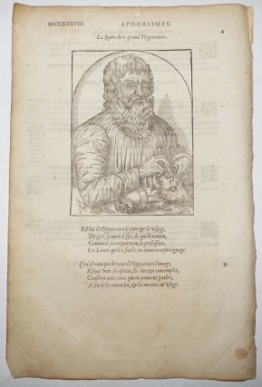 16th-century leaf with a large illustration showing Hippocrates from Ambroise Paré's Aphorismes