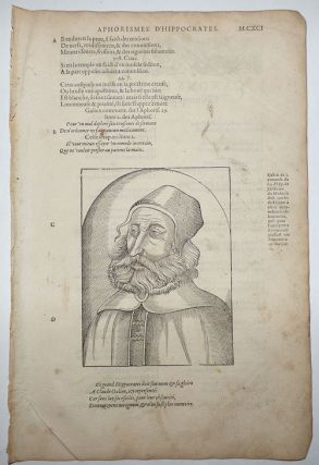 16th-century leaf with a large illustration showing Galen from Ambroise Paré's Aphorismes....