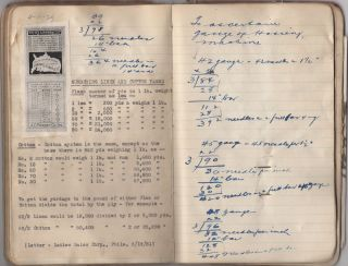 Production manager's notebook for Vanity Fair underwear and stockings