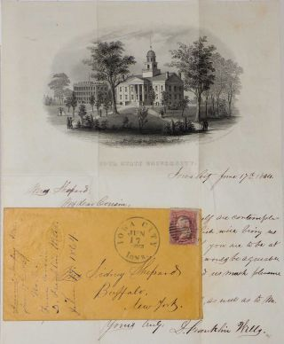 An early letter from D. Franklin Wells on Iowa State University (now the University of Iowa) stationery to Sidney Shepard