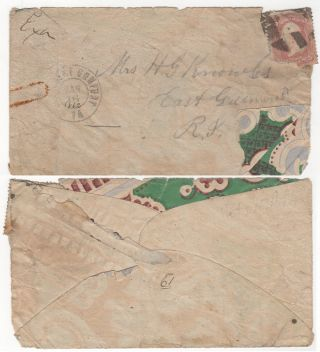 PRISONER-OF-WAR MAIL MADE FROM WALLPAPER AND SENT FROM THE MOST BRUTAL AND INFAMOUS CONFEDERATE PRISON: A very scarce Union prisoner-of-war adversity envelope made from wallpaper sent from Andersonville Prison