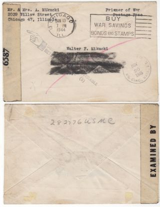 Returned mail sent to a World War II Marine who was captured on Corregidor and died in a Japanese...