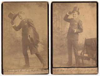 Set of seven temperance cabinet card photos showing a well-dressed gentleman as he gets drunk at his club and later reforms.