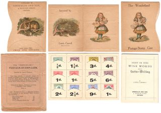 The Wonderland Postage-Stamp Case, complete with slipcase, Eight or Nine Wise-Words About Letter-Writing, all twelve unused stamps, and original outside envelope. By Lewis Carroll.