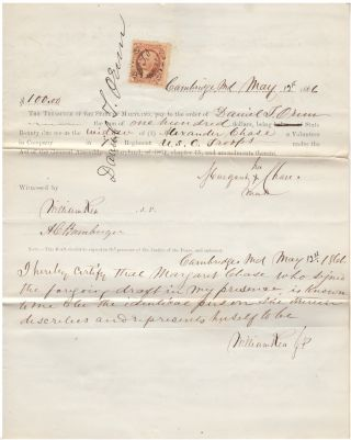 Documents attesting to the Civil War service of the Maryland slave, Alexander Chase, in the 7th United States Colored Infantry and his death in the Post Hospital at Indianola Texas