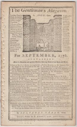 The Gentleman's Magazine: For September, 1776. Sylvanus Urban, Edward Cave.