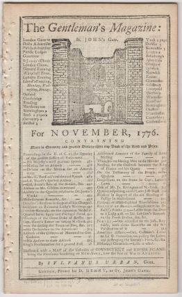 The Gentleman's Magazine: For November, 1776. Sylvanus Urban, Edward Cave.