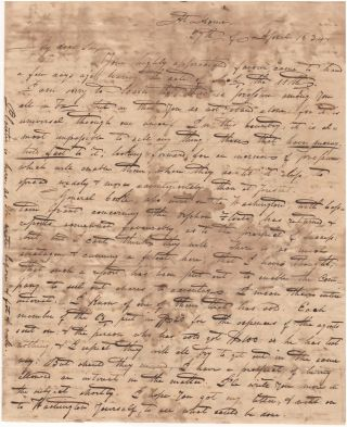 A letter from a plantation owner in the Alabama and Mississippi Territories to an associate in Virginia. Pickens County From A. Harrison, Virginia, Alabama to Nathaniel H. Hools at King Georges Court House.
