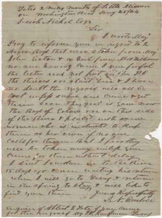 Letter sent to Josiah Nichol, Esq. at Washington, Arkansas notifying him of three slaves who had...