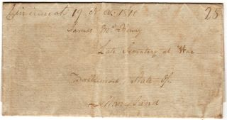 PLEA FROM A HERO OF THE NORTHWEST INDIAN WARS TO RECEIVE HIS ARMY PENSION; Folded-letter from Captain Cornelius R. Sedam to the former Secretary of War, James McHenry