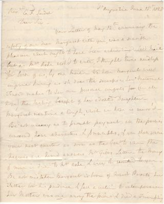ASSURANCE THAT THE FEES INCURRED AT THE BETHLEHEM FEMALE SEMINARY BY AN ORPHANED FLORIDA GIRL WOULD BE PAID IN FULL ONCE HER BENEFACTOR RECEIVED PAYMENT FOR SLAVES SHE HAD LEASED TO A NEARBY FARMER ; Four-page folded letter from Isabelle Gibbs to the Reverend Charles F. Seidel