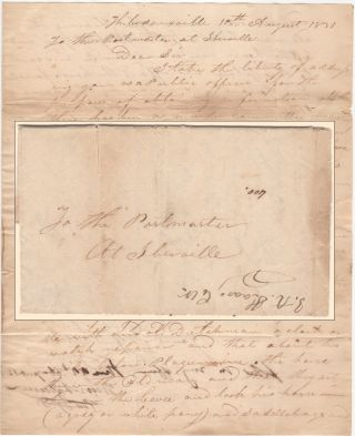 A REQUEST FOR INFORMATION ABOUT THE MURDER OF A LOUISIANA WATCHMAKER; Two-page folded letter sent by the Justice of the Peace from Thibodeauxville, Louisiana to the Postmaster of Iberville. Louisiana A. Justice of the Peace from Thibodeauxville.