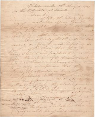 A REQUEST FOR INFORMATION ABOUT THE MURDER OF A LOUISIANA WATCHMAKER; Two-page folded letter sent by the Justice of the Peace from Thibodeauxville, Louisiana to the Postmaster of Iberville