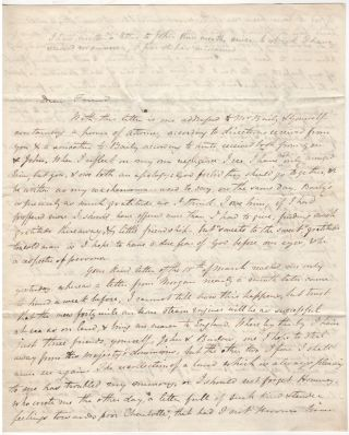 A HEARTFELT AND NEWSY LETTER FROM ONE OF THE FIRST PROFESSORS AT THE UNIVERSITY OF VIRGINIA TO A FRIEND IN ENGLAND; Four-page stampless letter from Charles Bonnycastle to John Knowles
