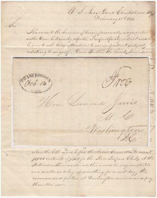 REQUEST FOR A RAISE FROM A LONG-SERVING CIVILIAN CLERK AT THE CHARLESTOWN NAVY YARD IN BOSTON SENT TO THE CHAIRMAN OF THE U.S. HOUSE COMMITTEE ON NAVAL AFFAIRS; Free-franked, stampless letter from James Pearson to Congressman Leonard Jarvis. James Pearson.