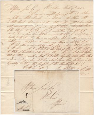 "RIVERBOAT LETTER FROM A PROMINENT NEW ORLEANS MERCHANT TO AN ASSOCIATE IN ST. LOUIS DISCUSSING THE BANKING CRISIS OF 1841-42; One-page folded letter from Abijah Fisk sent to an associate in St. Louis by the Mississippi River Steamboat ""Alton"" Abijah Fisk."