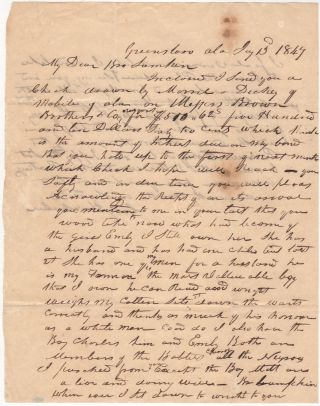 DISCUSSION BETWEEN SLAVE-OWNERS (OR PERHAPS A SLAVE OWNER AND SLAVE-TRADER) ABOUT PREVIOUSLY PURCHASED SLAVES; Letter between slave-owners (or perhaps a slave-owner and slave-trader) discussing slaves previously purchased that worked on the sender's plantation. Gray Huckabee.