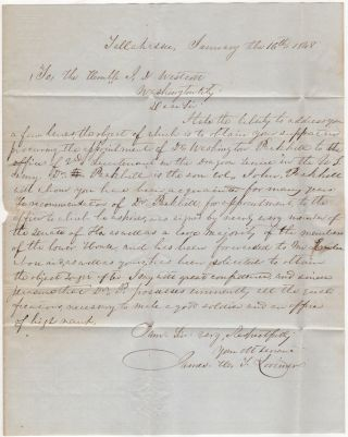 RECOMMENDATION FOR A FLORIDA PHYSICIAN AND PLANTATION OWNER TO RECEIVE A FEDERAL COMMISSION AS A LIEUTENANT OF DRAGOONS; Free-franked folded-letter from Florida State Senator James H. T. Lorimer to U. S. Senator J. D. Wescott.