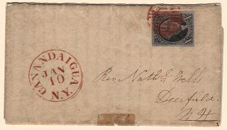 AN ADVENTUROUS WOMAN'S TRAVEL LETTER RECOUNTING A HAZARDOUS JOURNEY BY STAGE AND RAILROAD TO THE ONTARIO FEMALE SEMINARY DURING A HORRENDOUS WINTER STORM franked with A VERY FINE 1847 U.S. TEN-CENT WASHINGTON STAMP; Four-page folded letter from Abby Wells sent from Canandaigua, New York to her parents in Deerfield, New Hampshire
