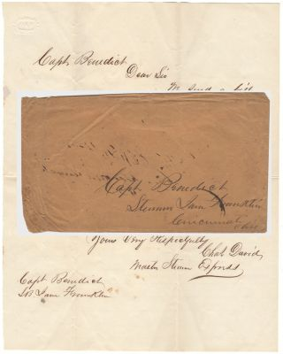 LETTER DEMANDING PAYMENT FOR DAMAGE DONE TO THE STEAMER EXPRESS BY THE STEAMBOAT JANE FRANKLIN DURING A COLLISION ON THE OHIO RIVER; Letter from Charles David to Captain Benedict. Charles David.