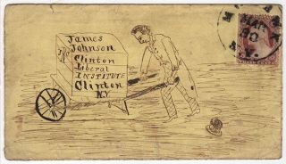 HUMOROUS LETTER TO A STUDENT AT THE CLINTON LIBERAL INSTITUTE FEATURING A DRAWING OF HIM WHEELBARROWING BACK TO SCHOOL; Letter with a hand-illustrated envelope sent to a student at the Clinton Liberal Institute by John P. Cannod