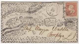 AN ILLUSTRATED ENVELOPE WITH A HAND-DRAWN MAP OF A NEW JERSEY FARM; Envelope illustrated with an all-over hand-drawn map showing a New Jersey farm