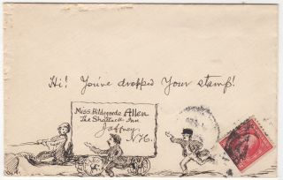 "FIVE PIECES OF EXCEPTIONALLY WELL-DRAWN, HUMOROUS POSTAL FOLK ART; Five hand-illustrated envelopes by an artist identified only as ""F. R."" that were sent to members of the Allen family of Massachusetts and New Hampshire"