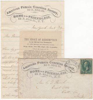 """THANK YOU"" CORRESPONDENCE FROM THE AMERICAN FEMALE GUARDIAN SOCIETY AND HOME FOR THE FRIENDLESS; Thank-you grouping consisting of a Female Guardian Society advertising cover, a two-page letter written on the organization's stationery, and a religious tract"