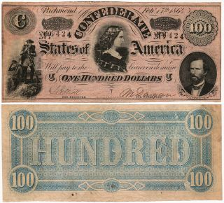 Nearly unused Confederate States of America $100 Bill, Richmond, 17 February 1864 (T65)