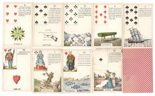 Complete deck of Lenomand-Piquet fortune-telling cards