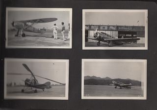 Photograph album showing aircraft, students, and facilities at the Curtis-Wright Technical Institute at the Grand Central Air Terminal in Glendale, California