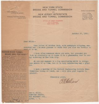 Typed letter signed by Clifford M. Holland, Chief Engineer of the Holland Tunnel sent to a...