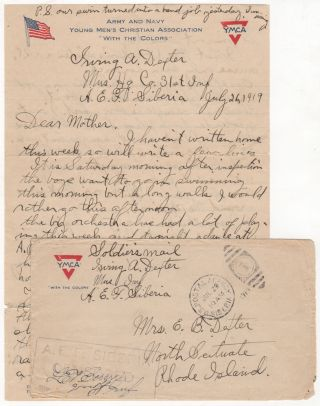 31st Infantry Regiment musician's letter from Siberia during the Allied intervention in the Russian Revolution. Irving A. Dexter.