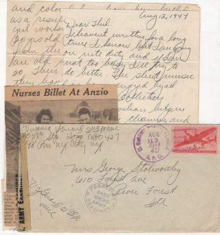 Anzio Landing letter describing Italian civilians from a World War II Army nurse stationed in Italy. Lieutenant Virginia A. Guard.