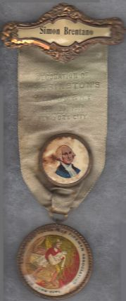 Simon Bretano's 1912 Washington Monument (New York City) Ceremony Volunteer Firemen Association Ribbon and Medal