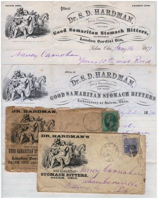 Two quack medicine illustrated letterheads and advertising envelopes for Dr. Hardman's Good Samaritan Stomach Bitters