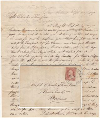 Business letter regarding shipping decisions sent to a master mariner and ship owner in New England from one of his ship captains in New Orleans